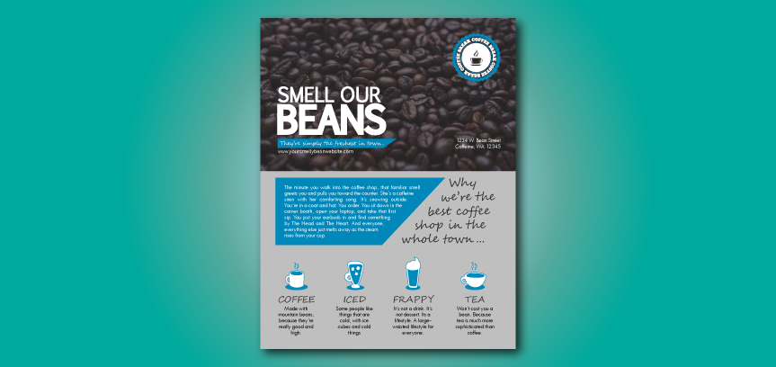 Coffee Shop Flyer Template: Smell Our Beans